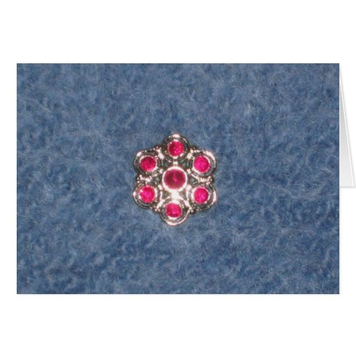 Flower button on blue felted background card