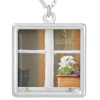 Flower by the window, Sighisoara, Romania Silver Plated Necklace