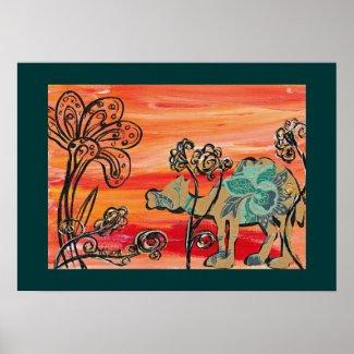 Flower Camel Print print