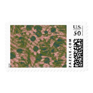 Flower camouflage pattern postage
