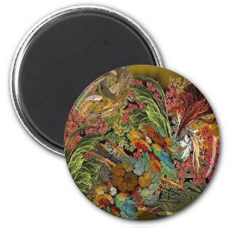 Flower Canvas 2 Inch Round Magnet