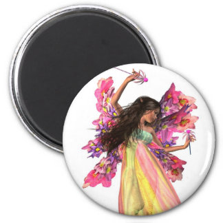 Flower Carnival Fairy 2 Inch Round Magnet