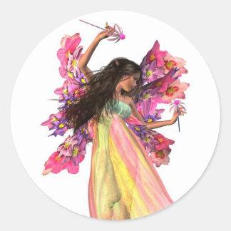 Flower Carnival Fairy Round Sticker