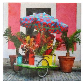 Flower Cart San Juan, Puerto Rico Ceramic Tile