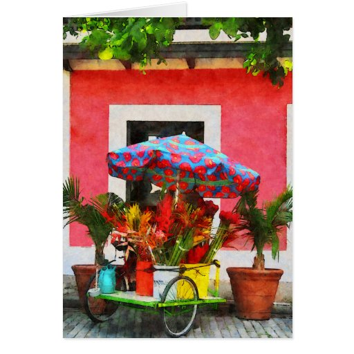 Flower Cart San Juan, Puerto Rico Greeting Card