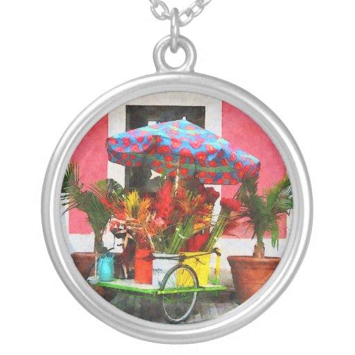 Flower Cart San Juan, Puerto Rico Personalized Necklace