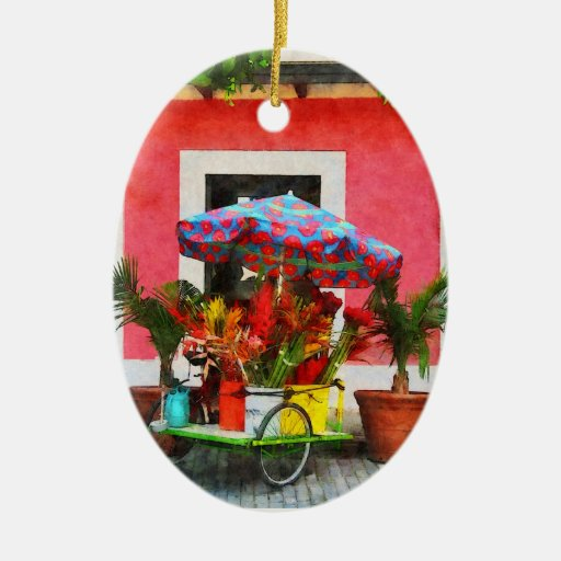 Flower Cart San Juan, Puerto Rico Double-Sided Oval