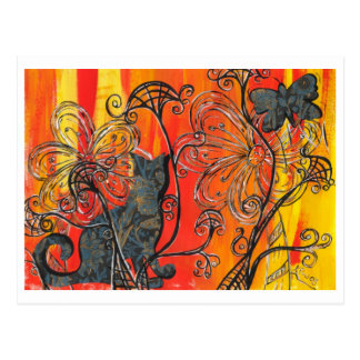 Flower Cat and Butterfly Postcard
