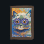 """Flower Cat by Louis Wain Tri-fold Wallet<br><div class=""""desc"""">A wallet with an illustration of a long-haired cat with purple flowers around the eyes,  by the British artist Louis Wain. He was best known for his drawings of animals and country scenes,  especially large-eyed cats.</div>"""