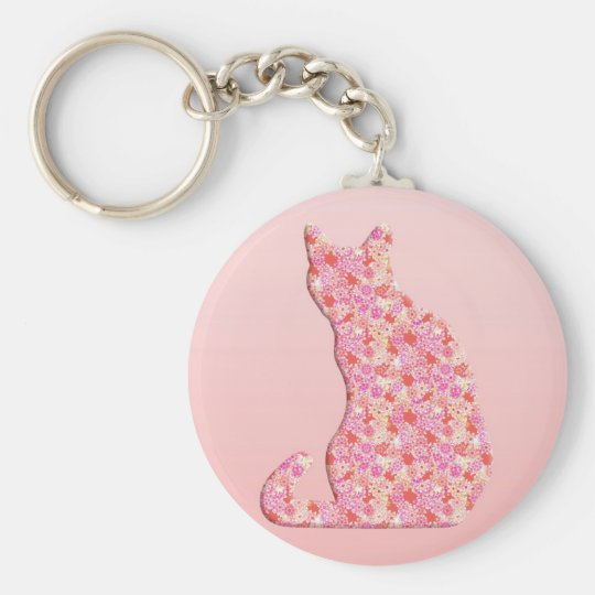 Flower Cat - coral orange and pink Keychain
