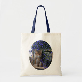 Flower Cat oval Tote Bag