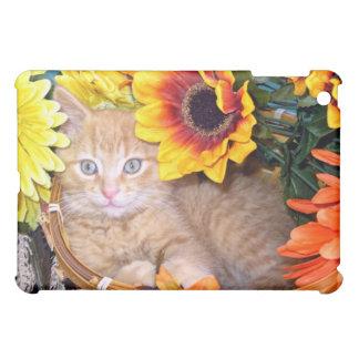 Flower Cat, Playful Baby Tabby Kitten, Sunflowers iPad Mini Cases