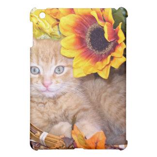 Flower Cat, Playful Baby Tabby Kitten, Sunflowers iPad Mini Cover