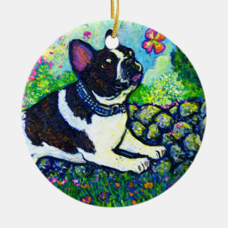 Flower Chaser Double-Sided Ceramic Round Christmas Ornament