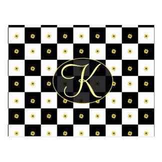 Flower Checkered Design Postcard