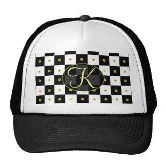 Flower Checkered Design Trucker Hat
