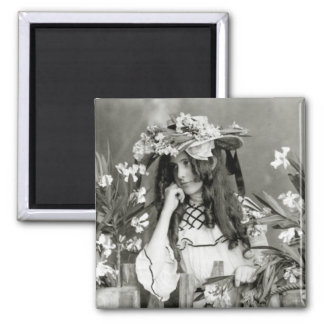 Flower Child Ahead of Her Time: 1902 2 Inch Square Magnet