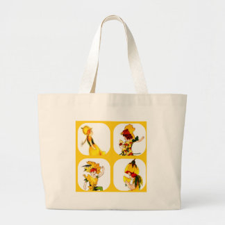 FLOWER CHILD - COLLAGE - YELLOW LARGE TOTE BAG