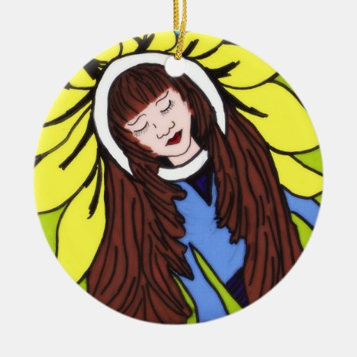 FLOWER CHILD Double-Sided CERAMIC ROUND CHRISTMAS ORNAMENT