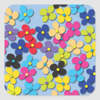 Flower Child Hippie Trippy Peace Fine Floral Square Sticker