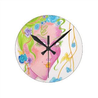 """Flower Child"" Original Painting Round Clock"