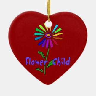 Flower Child Double-Sided Heart Ceramic Christmas Ornament