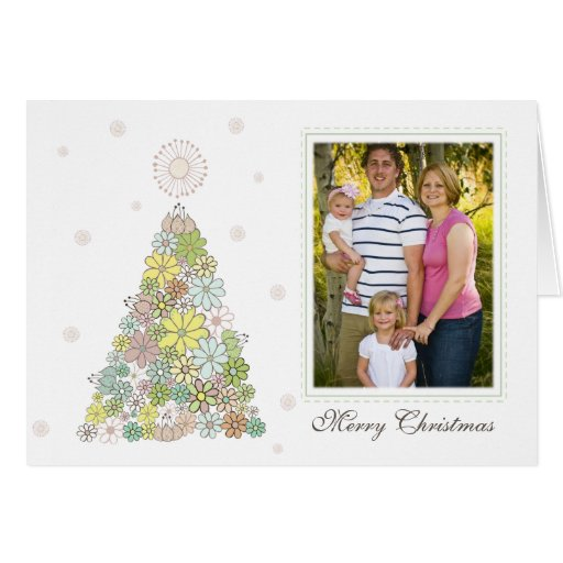Flower Christmas Tree Family Photo Card Template