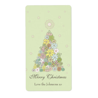 Flower Christmas Tree Gift Present Tag Label