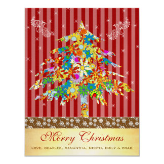 Flower Christmas Tree with Stars Card