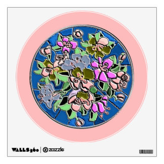 Flower circle wall decal