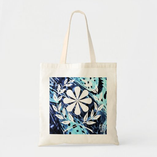 Flower Cobalt Blue Metal Tote Bag