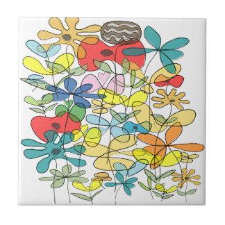 Flower collage ceramic tile