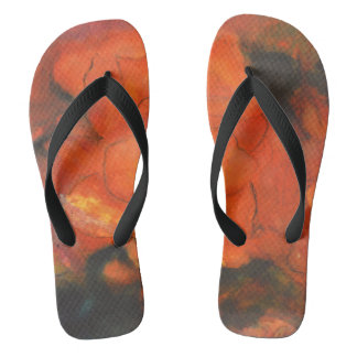 Flower Collection - Flip Flops Red Abstract