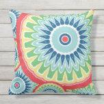 Flower Color Pop Mandala Design Outdoor Pillow