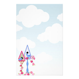 Flower Covered Bird Houses White Clouds Stationery