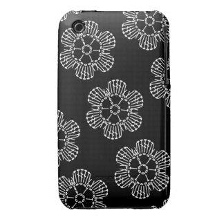 Flower Crochet Chart Pattern (Black & White Tiled) iPhone 3 Case-Mate Case