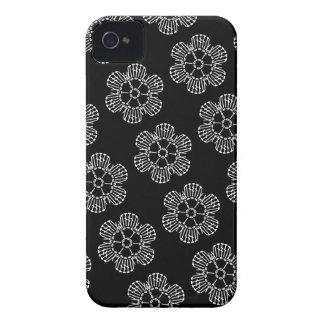Flower Crochet Chart Pattern (Black & White Tiled) iPhone 4 Case-Mate Case