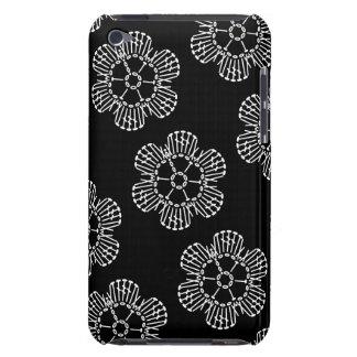 Flower Crochet Chart Pattern (Black & White Tiled) iPod Case-Mate Case