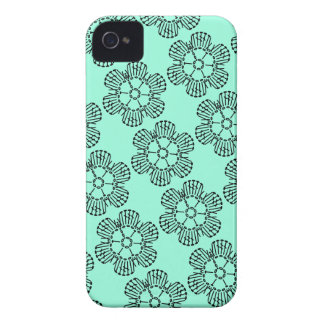 Flower Crochet Chart Pattern -Tiled w/ Background Case-Mate iPhone 4 Cases