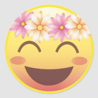 Flower Crown Blushing Smiley Emoji Face Sticker