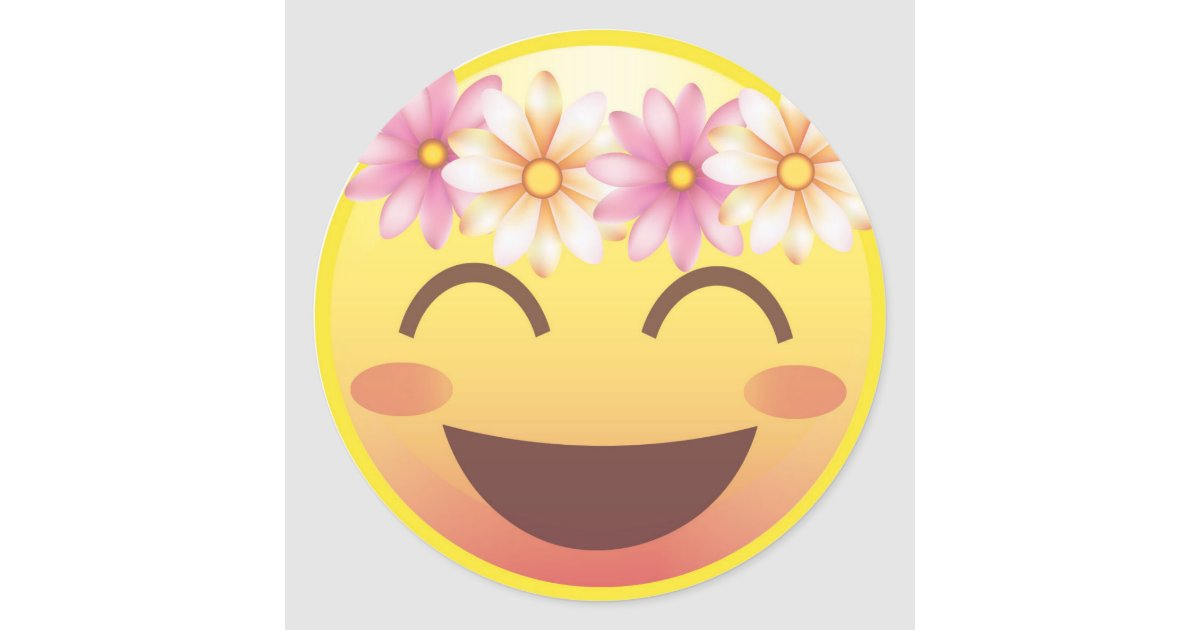 Flower Crown Blushing Smiley Emoji Face Sticker | Zazzle