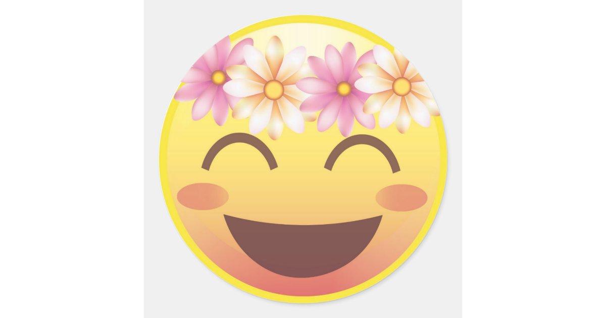Flower Crown Blushing Smiley Emoji Face Sticker Zazzle Com