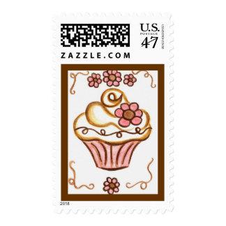 Flower Cupcake Postage Stamp