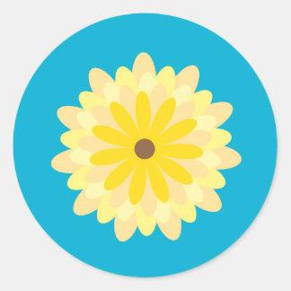 Flower Cupcake Topper/Sticker Classic Round Sticker