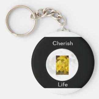 Flower Daffodil Moonlit Basic Round Button Keychain