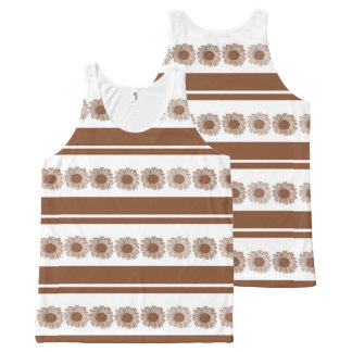Flower daisy brown white stripe All-Over print tank top