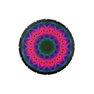 Flower Dance Mandala, Abstract Pink Magenta Jelly Belly Candy Tin