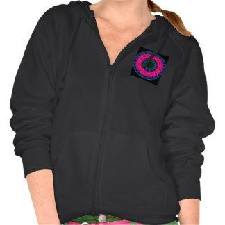 Flower Dance Mandala, Abstract Pink Magenta Hooded Sweatshirt