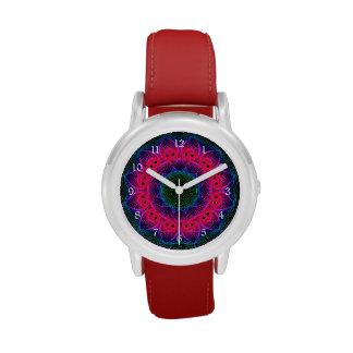 Flower Dance Mandala, Abstract Pink Magenta Watch