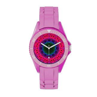 Flower Dance Mandala, Abstract Pink Magenta Wrist Watch